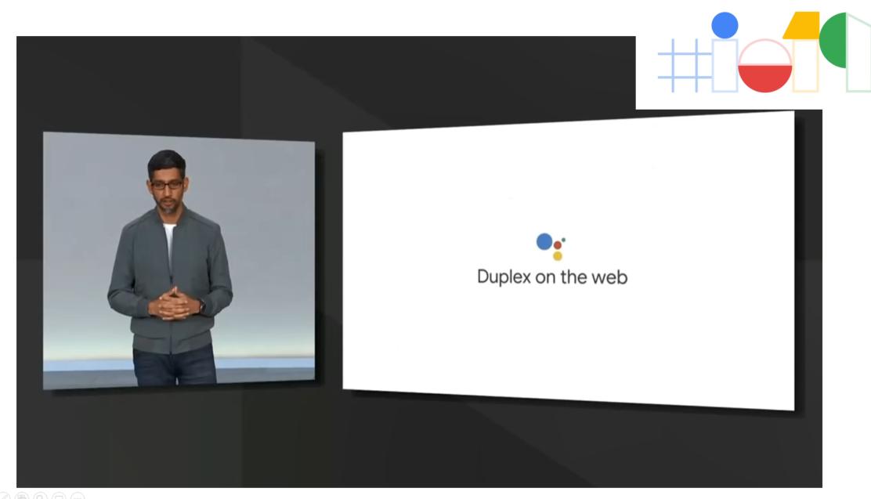 Sundar Pichai, CEO di Google, presenta Duplex al Google I/O 2019